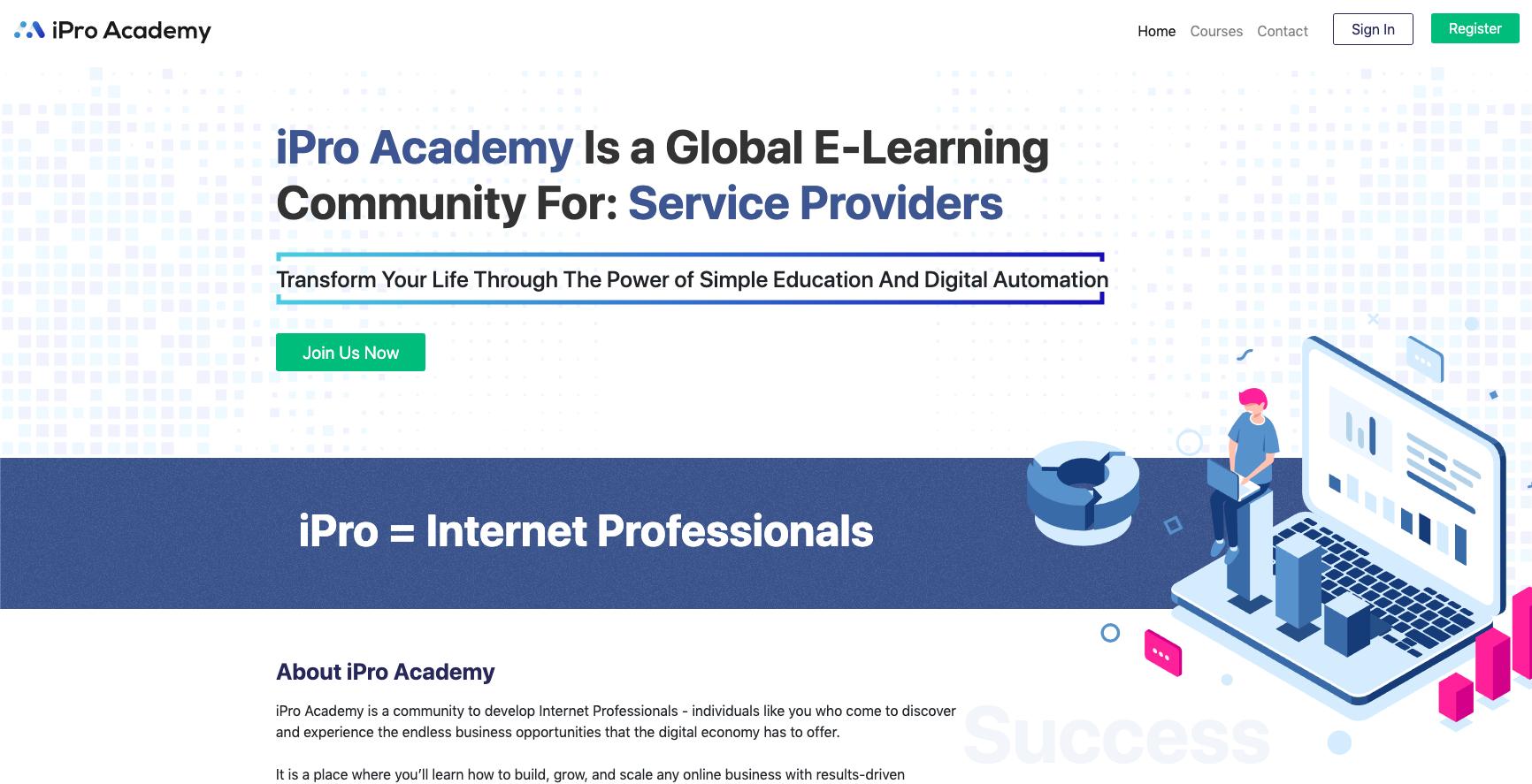 iPro Academy website